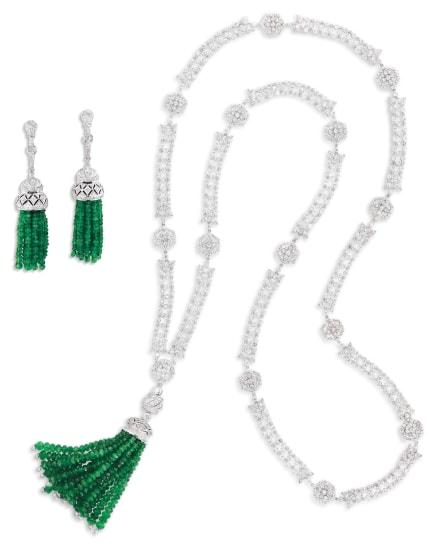 An Emerald and Diamond Demi-parure