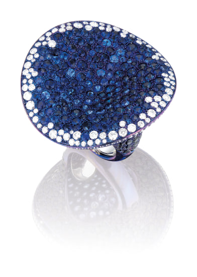 A Sapphire, Coloured Sapphire and Diamond Ring