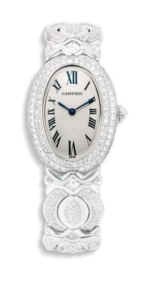 A Diamond Wristwatch, Baignoire, Cartier