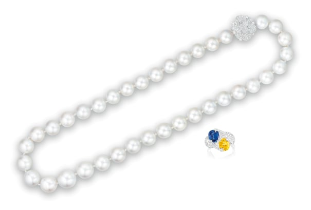 A Cultured Pearl and Diamond Necklace, and A Yellow Sapphire, Sapphire and Diamond 'Day-and-Night' Ring, Chanel