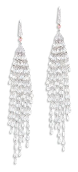 A Pair of Diamond and Pink Diamond Pendent Earrings