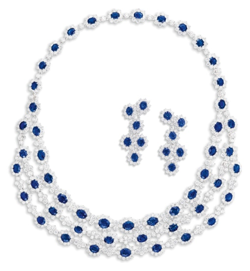 A Sapphire and Diamond Demi-parure