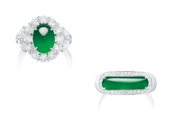 Two Jadeite and Diamond Rings
