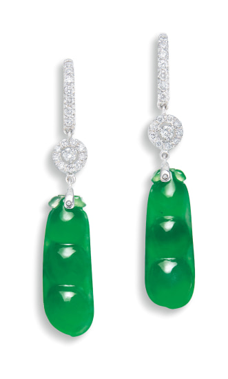 A Pair of Jadeite 'Peapod' and Diamond Pendent Earrings