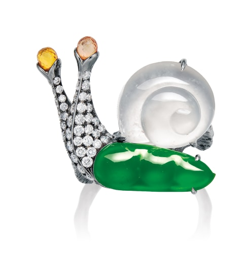 A Whimsical Jadeite, Icy Jadeite and Diamond 'Snail' Ring, Mason Tsai