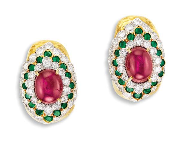 A Pair of Star Ruby, Emerald and Diamond Ear Clips, David Webb