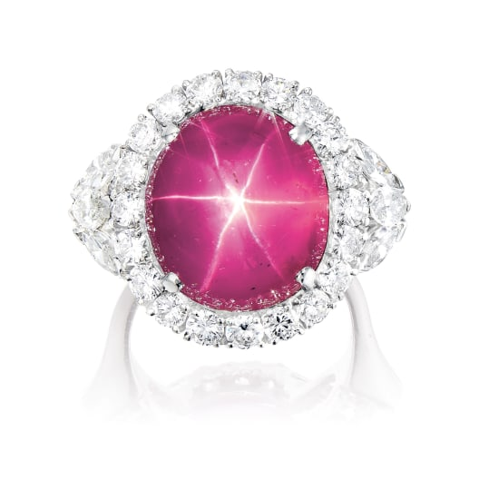 A Pink Star Sapphire and Diamond Ring