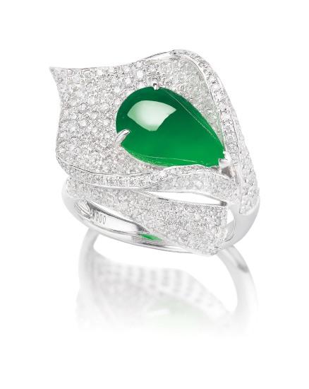 A Jadeite Cabochon and Diamond 'Calla Lily' Ring