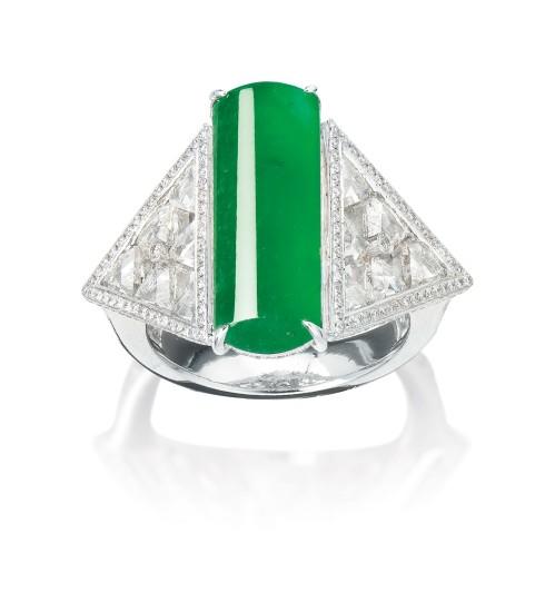 A Stylish Jadeite and Diamond Ring