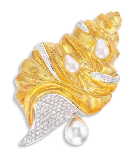 A Lucite, Cultured Pearl and Diamond Brooch, Chanel