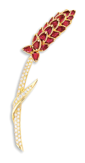A Ruby and Diamond 'Wheat' Brooch, Chanel