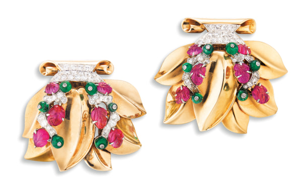 A Pair of Gem-set and Diamond Clip-Brooches, Cartier, Circa 1945