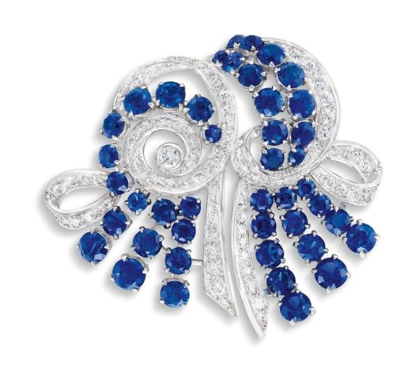 A Sapphire and Diamond Double Clip Brooch, Garrard London