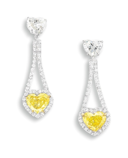 A Pair of Fancy Intense Yellow Diamond, Fancy Yellow Diamond and Diamond Pendent Earrings