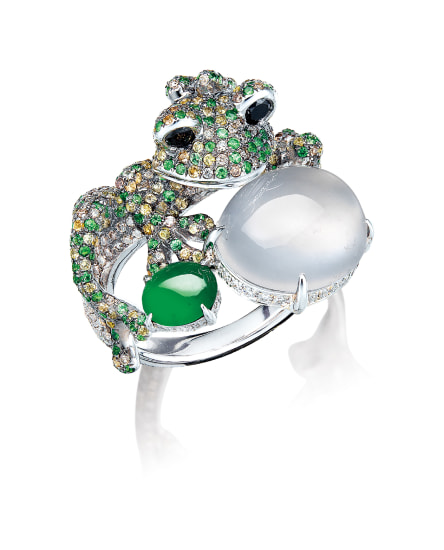 A Whimsical Icy Jadeite, Jadeite, Gem-set and Diamond 'Frog' Ring