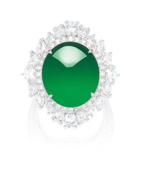 A Fine Jadeite Cabochon and Diamond Ring