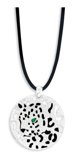 A Diamond, Lacquer and Emerald 'Panthère' Pendant, Cartier