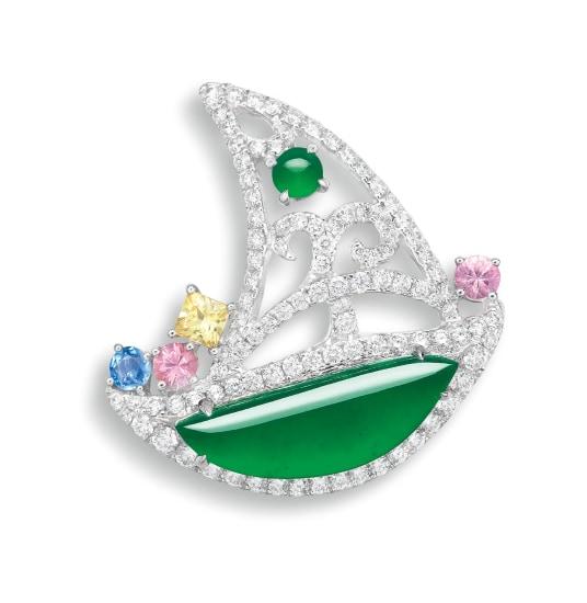 A Jadeite, Diamond and Gem-set 'Sailing Boat' Brooch