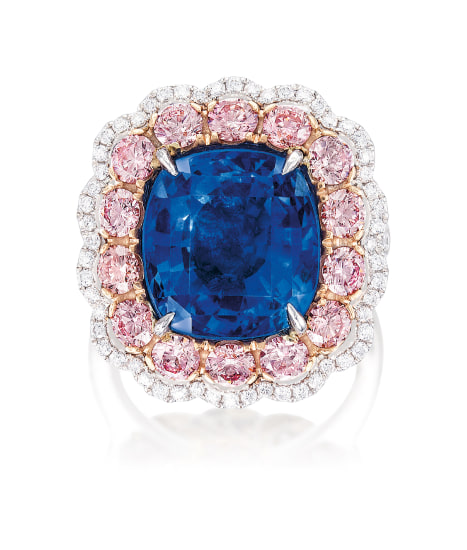A Sapphire, Pink Diamond and Diamond Ring
