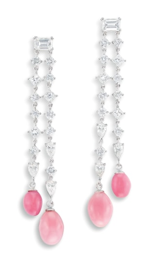 A Pair of Conch Pearl and Diamond Pendent Earrings