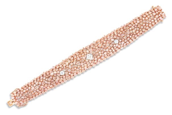 A Pink Diamond and Diamond Bracelet