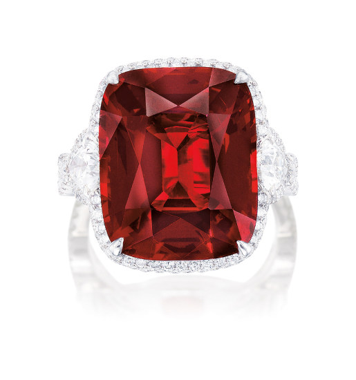 A Fine Red Spinel and Diamond Ring
