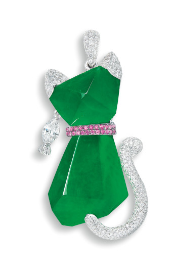 A Delightful Jadeite, Pink Sapphire and Diamond 'Cat' Pendant