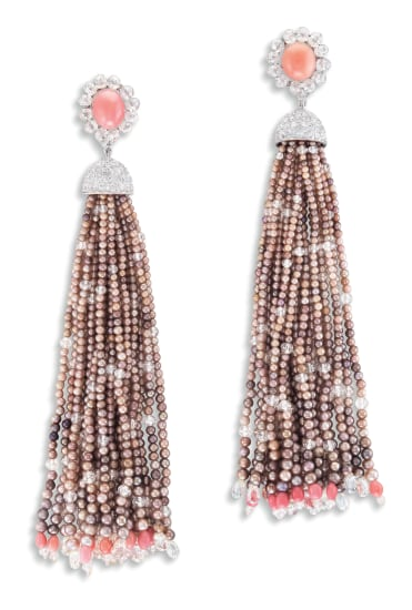 A Pair of Pink Conch Pearl, Seed Pearl and Diamond Tassel Pendent Earrings
