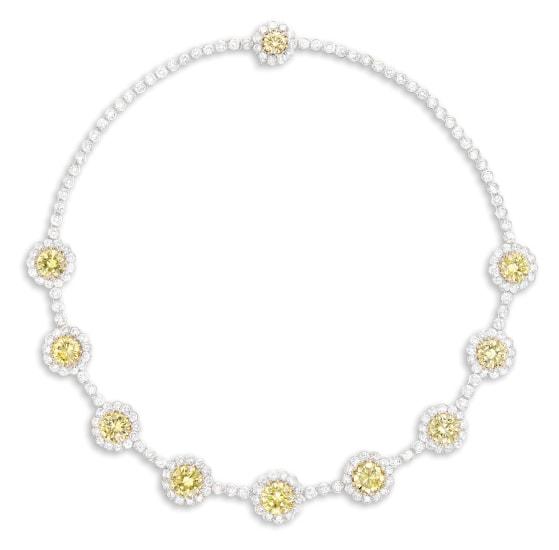 A Fancy Yellow Diamond and Diamond Necklace