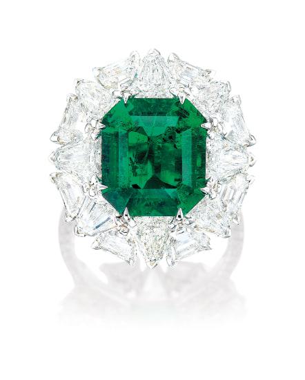 A Fine Emerald and Diamond Ring