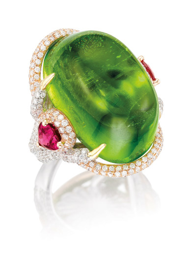 A Peridot, Rubelite and Diamond Ring