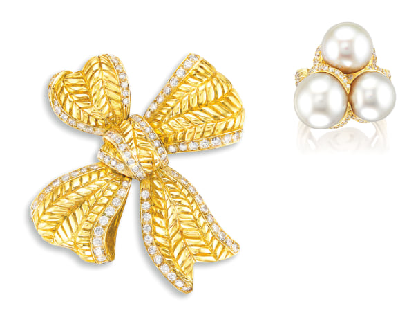 A Diamond 'Bow Knot' Brooch, and a Cultured Pearl and Diamond Ring, Chanel