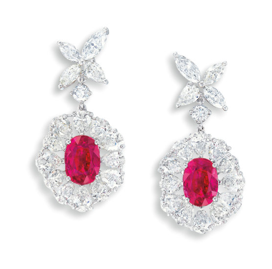 A Pair of Ruby and Diamond Pendent Earrings