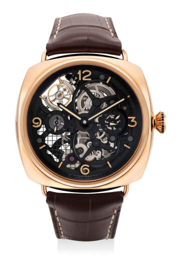 A very fine, attractive and unique pink gold limited edition perpendicular tourbillon dual time wristwatch with day and night indicator, 6-day power reserve indicator, guarantee and presentation box, numbered 1 of a limited edition of 1 piece