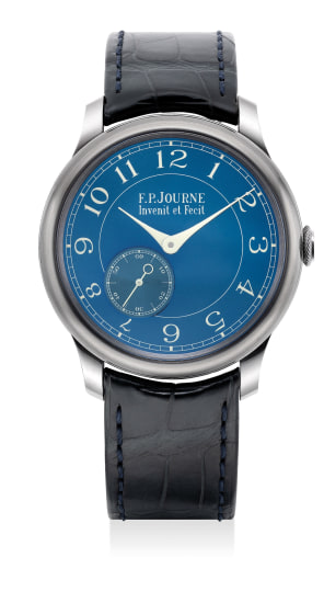 """A very fine and rare tantalum wristwatch with small seconds, """"chrome blue"""" dial, certificate and presentation box"""