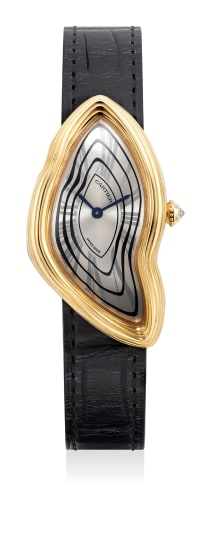 A very fine, attractive and rare limited edition asymmetrical yellow gold wristwatch with certificate and presentation box, numbered 8 out of a limited edition of 50 pieces