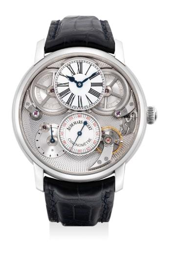 A very fine and rare platinum skeletonized chronometer wristwatch with Audemars Piguet escapement, enamel dial, guarantee and presentation box
