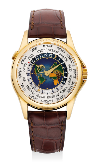 "A very fine and attractive yellow gold world time wristwatch with ""cloisonné"" enamel dial, Certificate of Origin and presentation box"