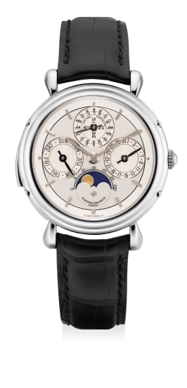 A rare and elegant platinum minute repeating perpetual calendar wristwatch with two-tone dial, moon phases and leap year indication
