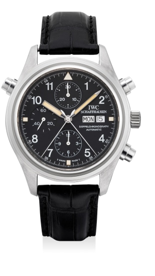 A fine and attractive stainless steel pilot's split-seconds chronograph wristwatch with date and day indication