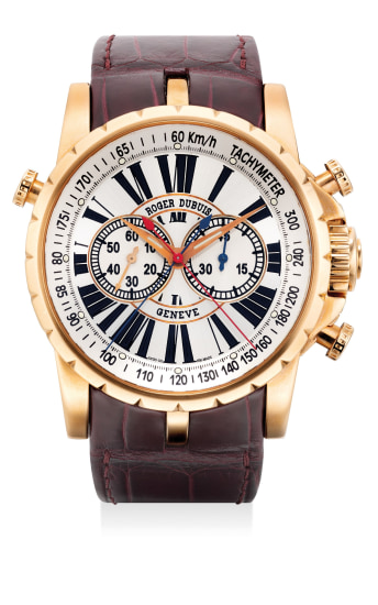 A fine limited edition pink gold split-second chronograph wristwatch with guarantee and presentation box, number 1 of a limited edition of 28 pieces