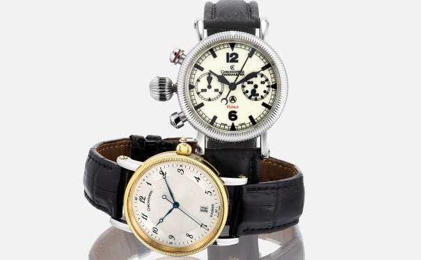 A pair of two stainless steel and two-tone stainless steel and yellow gold wristwatches with guarantee and box