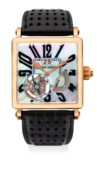 """A fine limited edition yellow gold square-shaped wristwatch with tourbillon escapement, date, power reserve indicator and """"mother of pearl"""" dial, numbered 20 of a limited edition of 28 pieces"""