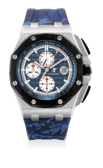 A fine and attractive platinum and ceramic chronograph wristwatch with date, warranty and presentation box