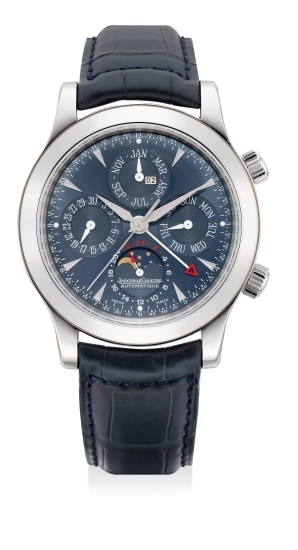 A very fine and rare limited edition platinum perpetual calendar wristwatch with alarm, moon phases and leap year indication, numbered 001 of a limited edition of 250 pieces