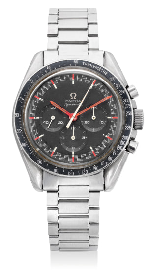 """A rare and attractive stainless steel chronograph wristwatch with """"racing"""" dial and bracelet"""