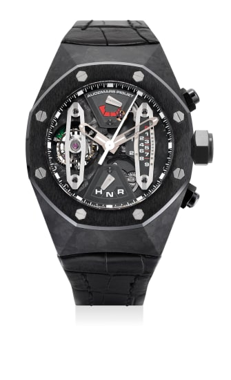 An attractive and rare forged carbon and ceramic skeletonized tourbillon chronograph wristwatch with sweep center seconds, 237-Hour power reserve, dynamographe indication, warranty and presentation box