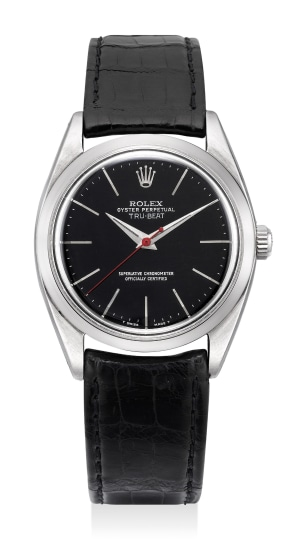 "A very fine and rare stainless steel wristwatch with dead-beat seconds and ""glossy"" black lacquered dial"