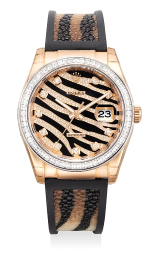 """A elegant and attractive pink gold diamond-set wristwatch with date, pave """"zebra"""" dial with baguette diamond-set bezel, guarantee and presentation box"""