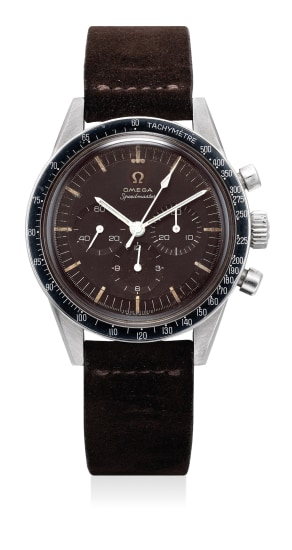 """A fine and rare stainless steel chronograph wristwatch with """"tropical"""" dial"""